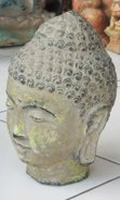 Buddha Head in cement. Size H22 cm. Price FOB 3,65 usd excl packing. Order code CP031.