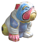 Bulldog in cement. Size H23, L21, W18 cm. Price FOB 6,30 usd excl packing. Order code CP062.