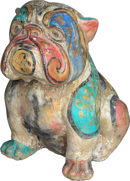 Bulldog in cement. Size H40, L45, W30 cm. Price FOB 24,00 usd incl wooden pack. Order code CP055.