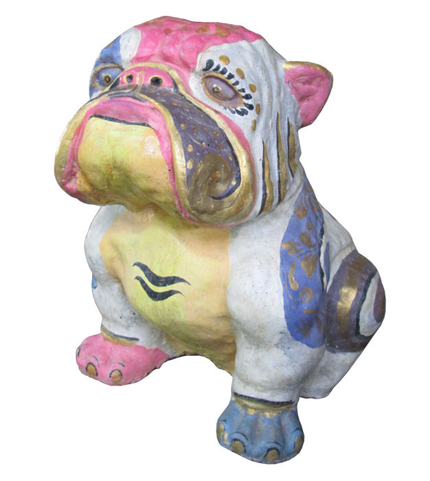 Bulldog in cement. Size H40, L45, W30 cm. Price FOB 24,70 usd incl wooden pack. Order code CP056.