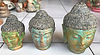 Buddha head in cement. Size H10, L7, W7 cm. Price  1,35 usd excl packing. Art. code CP102(to the left). Buddha head in cement. Size H12, L9, W8 cm. Price  1,80 usd excl packing. Art. code CP103(in the middle). Buddha head in cement. Size H15, L10, W9 cm. Price  2,30 usd excl packing. Art. code CP104(to the right).
