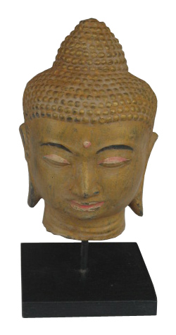 Buddha Head on stand in cement. Size H26, L14, W14 cm. Price FOB 3,60 usd excl packing. Order code CP018.