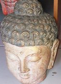 Buddha head in cement. Size H22 cm. Price FOB 3,65 usd excl packing. Art. code: CP099.