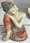 Dreaming Buddha in cement. Size H9, L6.5, W5 cm. Price 1,35 usd excl packing. Art. code: CP105.