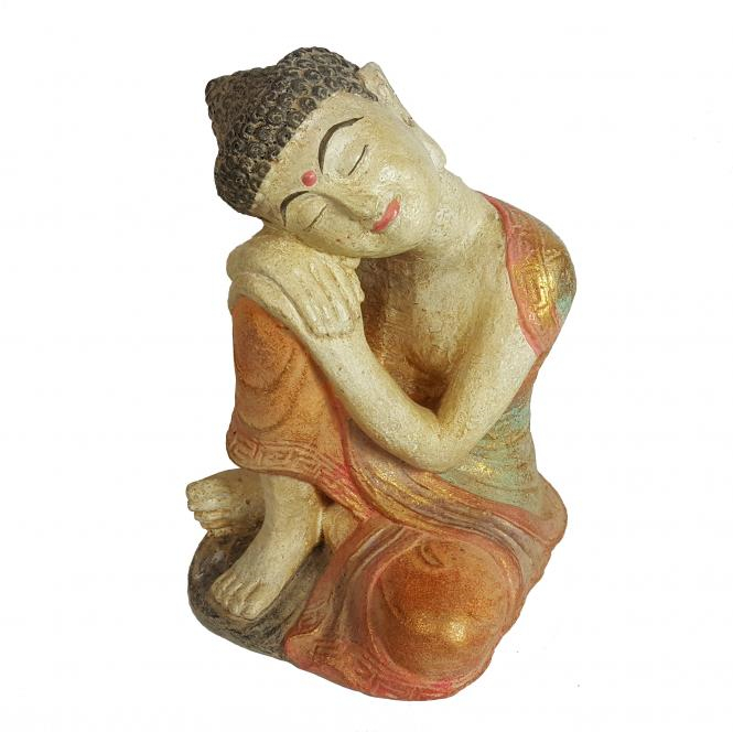 Dreaming Buddha in cement. Size H22, L14, W14 cm. Price 4,15 usd excl packing. Art. code: CP106.