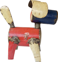 Recycle metal dog 1. Art. code: ZRM001. Size H23, L33, W23 cm. Price FOB 14,25 usd.