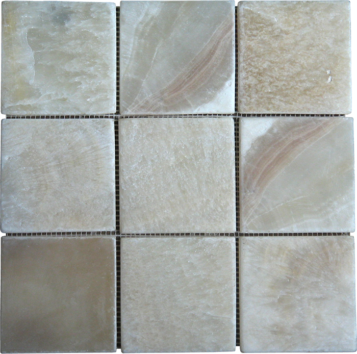 Parquet Mosaic 9,75x9,75 cm Interlock Onyx. Order code: PAM4-03A(Y). The onyx is a white color onyx with pattern of yellow color as shown in the pic. The onyxstone is not molen but instead the edges are made smooth with use of sandpaper. Molen works good on marble material but destroys onyx material.