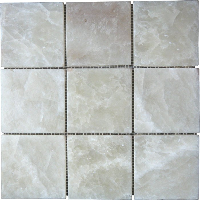 Parquet Mosaic 9,75x9,75 cm Onyx. Order code: PAM4-03A. The onyx is a white color onyx with small pattern of yellow color as shown in the pic. The onyx stone is not molen but instead the edges are made smooth with use of sandpaper. Molen works good on marble material but destroys onyx material.