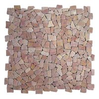 Puzzle Mosaic Interlock Red Marble – The photo shows four tiles put together to show that the interlock system does not show any joints, compared with the square tile. The tiles on the photo are without  cement between the stones.