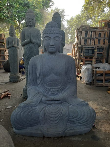 Sitting Buddha Riverstone. Art. code BS040B. Size H135, L80, W60cm. Weight 735 kg. Price FOB 577 usd.