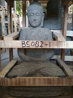 Sitting Buddha Greeting. Natural stone (Basanite). Size: H60, L36, W27 cm. Art. code BS082. Price Exwork 40,00 usd, Price FOB 44,00 usd. Port Semarang Indonesia.