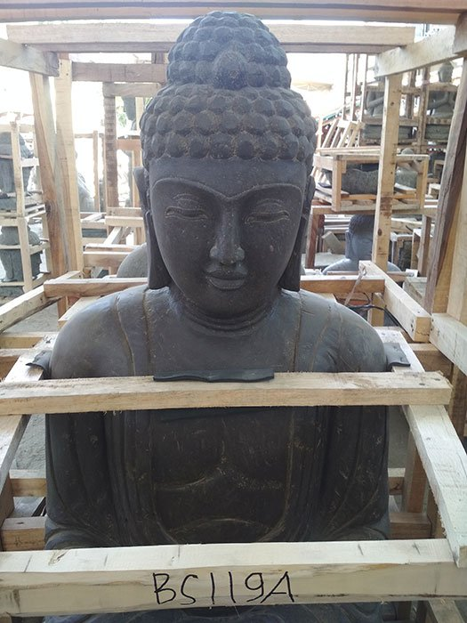 Sitting Buddha Japan antique. Natural Stone (Basanite). Size: H125, L70, W55 cm. Art. code BS119A. Price Exwork 143,00 usd, Price FOB 169,00 usd. Port Semarang Indonesia.