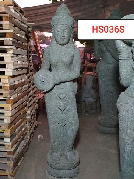 Standing Dewi Green stone. Art. code HS036S. Size H 150, L30, W35cm. Weight 127 kg. Price Exwork 65 usd, Price FOB 75,43 usd.