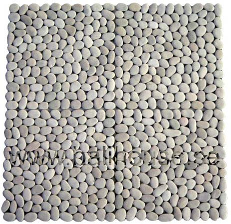 Pebble Mosaic Square White Stone—Order code: SM-20-1, 4 tiles