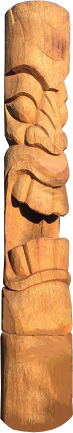Tiki Coconut statue H 150cm, Diameter 25-27cm. Art. code TC003. Price FOB 34,50 usd.