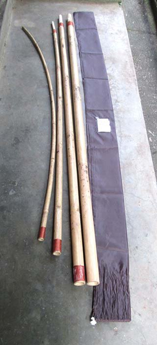 Bamboo stick incl textile bag. Bamboo stick is cut in parts to be connected when use. Art. code: BSC-3.5m(3,40usd), BSC-4.5m(3,75usd), BSC-5.5m(3,75usd), BSC-6.5m(4,10usd), BSC-7.5m(4,10usd).