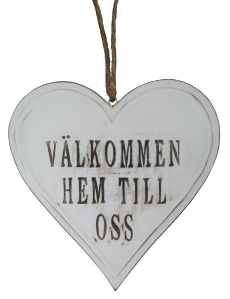 "Wooden Heart (MDF) ""WELCOME HOME TO US"" 1646.- Size H20cm, L20cm, W1cm."
