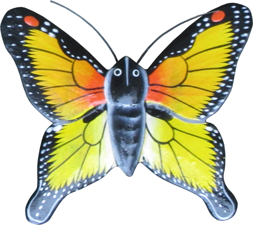 Magnet animal wood butterfly yellow. Art. code ZM034. Size L 7 cm H 6,5 cm. Price FOB 0,33 usd. Art. code ZM038. Size L 9,5 cm, H 8 cm. Price FOB 0,38 usd.
