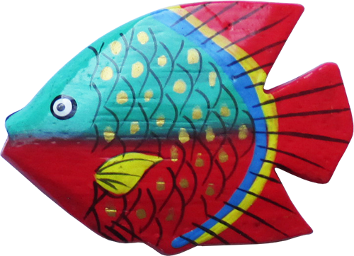 Art. code ZM001. Magnet animal wood fish turquise/red. Size L 7 cm H 6 cm. Price FOB 0,23 usd.