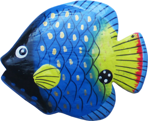 Art. code ZM002. Magnet animal wood fish blue. Size L 7 cm H 6 cm. Price FOB 0,23 usd.