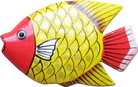 Art. code ZM004. Magnet animal wood fish yellow. Size L 7 cm H 6 cm. Price FOB 0,23 usd.