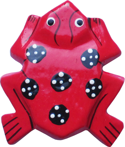 Art. code ZM012. Magnet animal wood frog red. Size L 7 cm H 6 cm. Price FOB 0,23 usd.