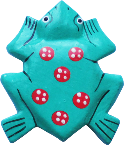 Art. code ZM013. Magnet animal wood frog green. Size L 7 cm H 6 cm. Price FOB 0,23 usd.