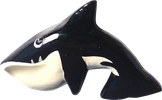 Art. code ZM021. Magnet animal wood killer whale. Size L 8 cm H 5 cm. Price FOB 0,33 usd.