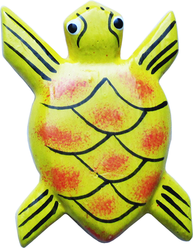 Art. code ZM009. Magnet animal wood turtle yellow. Size L 7 cm H 5 cm. Price FOB 0,28 usd.