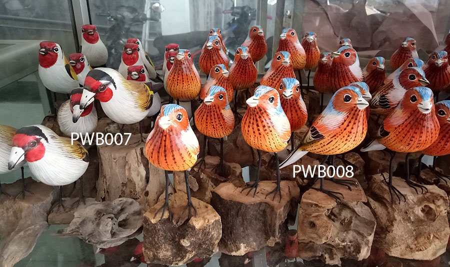 Painted wooden bird. Art. code PWB007. Size H 15cm. Price FOB. Painted wooden bird. Art. code PWB008. Size H 15cm. Price FOB