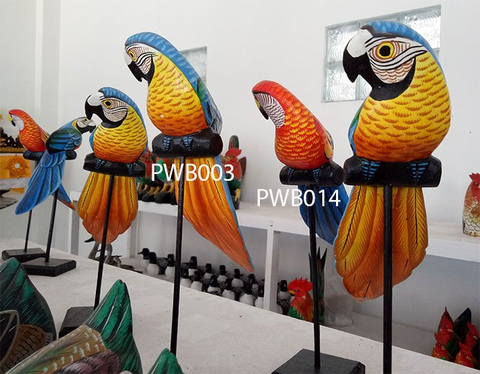 Painted wooden bird. Art. code PWB003. Size H 28cm. Price FOB. Painted wooden bird. Art. code PWB014. Size H 28cm. Price FOB